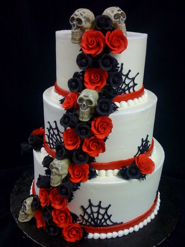 skull wedding cake red and black - Halloween Wedding Cakes Pictures