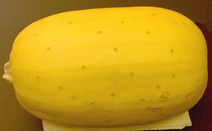 How to Cook Spaghetti Squash - Poke outside several times w/knife, bake whole 375 for 1 hour, cool, slice in half lengthwise, scoop out seeds, scoop out strands of squash.