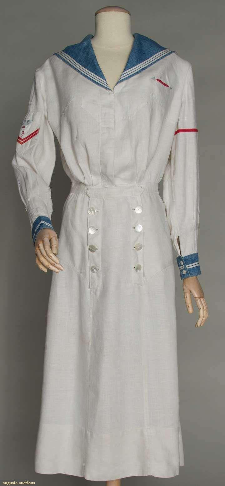 LADY'S WHITE YACHTING DRESS, c. 1915