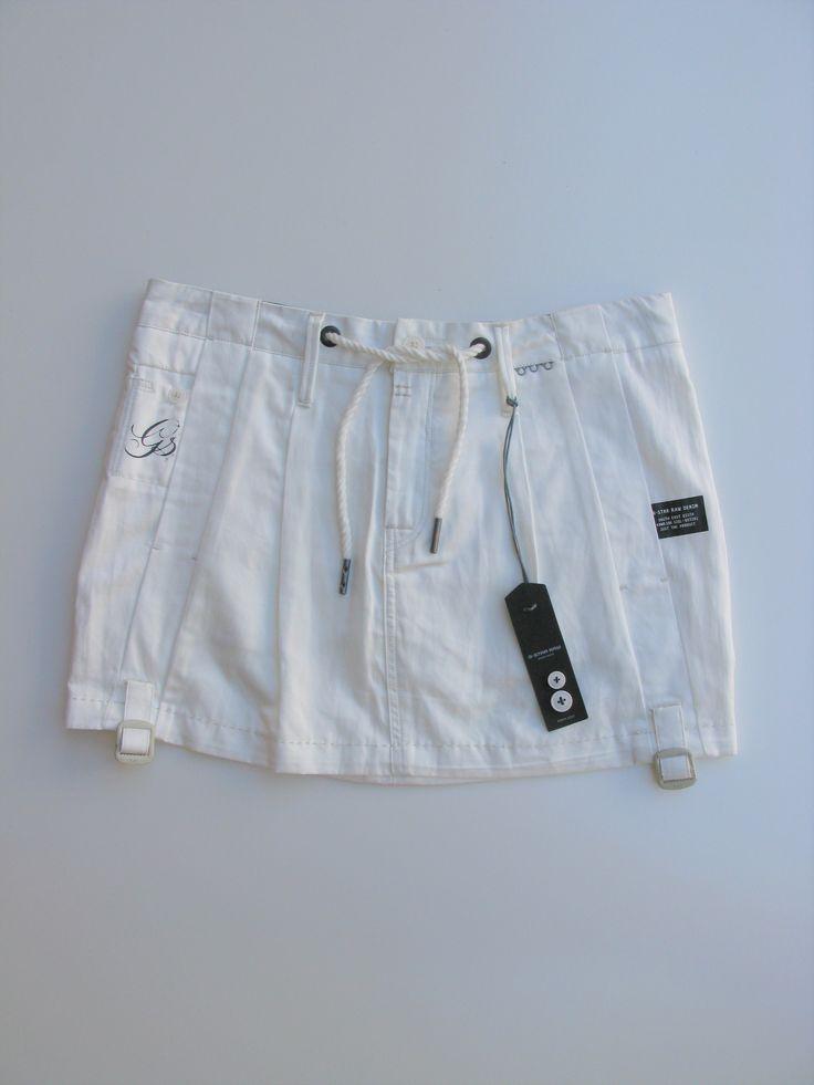 G Star 3301 Raw Denim Cotton Pleated Mini Skirt 27 NWT