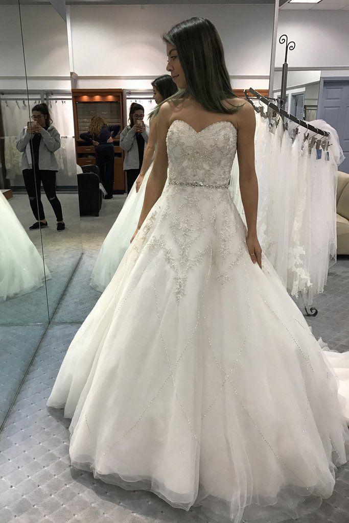 Charming Wedding Dress, Crystal Beading White Tulle Wedding