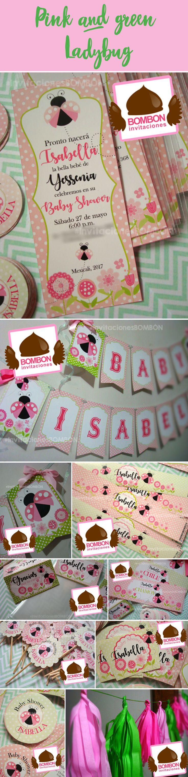 #Ladybug #catarina #babyshower #pink #green #babygirl #spring #flowers #baby #invitation #garland #waterlabel #favorbag #topper #stickers #tag #label #banner #mariquita #primavera #spring #cute #lindo #femenino #party #design #graphicdesign #InvitacionesBOMBON https://www.facebook.com/InvitacionesBOMBONLANDIA/