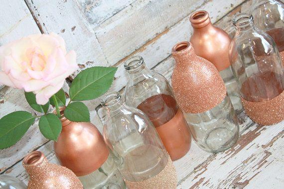 Vase rose Gold décor de mariage or ensemble de par thepaisleymoon