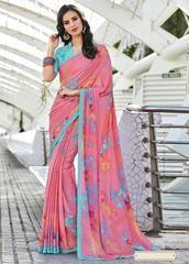 Pink & Aqua Blue Color Cotton Silk Casual Party Sarees : Reeshita Collection YF-63676