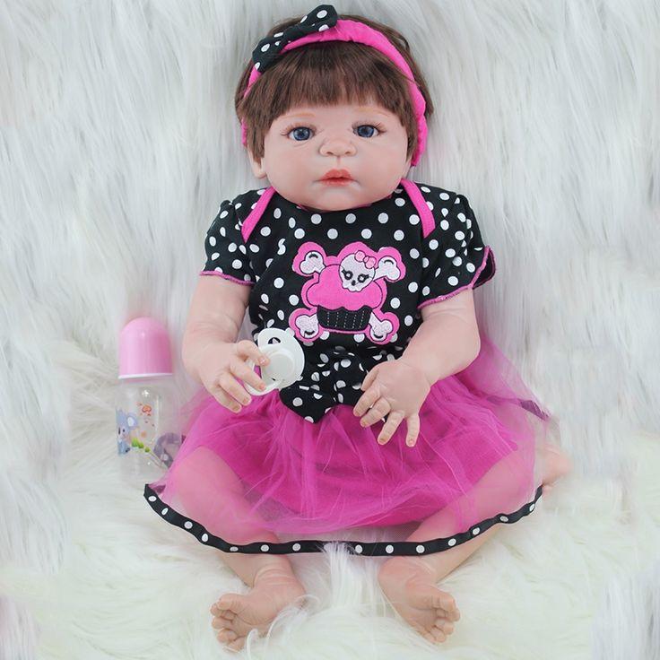 86.88$  Buy now - 55cm Full Silicone Reborn Baby Dolls Toy Newborn Princess Babie Alive Victoria Doll Girl Brinquedos Bonecas Birthday Gift  #magazineonlinebeautiful