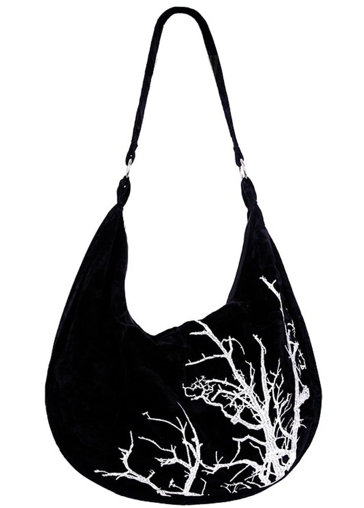 White Branches Velvet Hobo Bag
