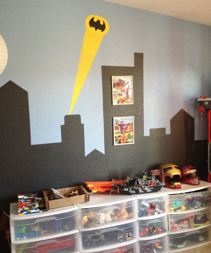 17 best images about decor superhero bedroom on pinterest for Batman cityscape wall mural