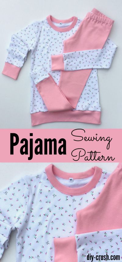 Easy to sew knit pajamas for kids size 9. Click for the FREE pattern &…