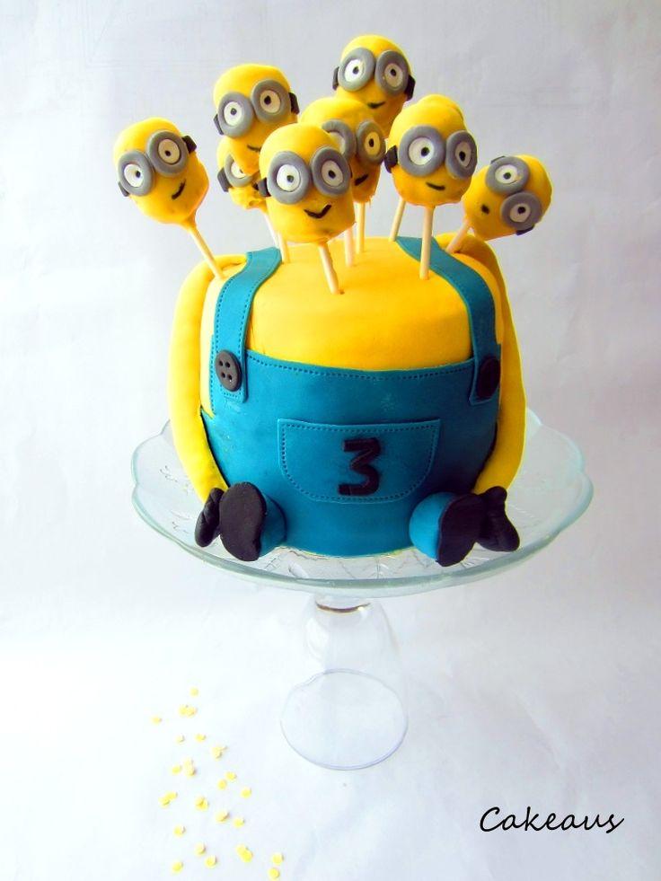 Minions-täytekakku, cake-pops