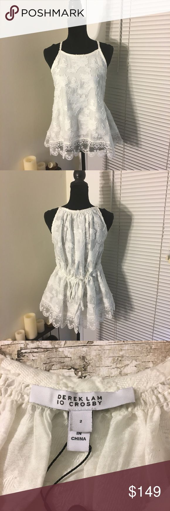 10 Crosby Derek Lam ivory lace tank top Ivory lace tank top from 10 Crosby Derek Lam. Embroidery throughout with thick lace hem. Functional tie detail adjusts the size and fit of the tank. Pullover style. Please verify measurements as this tank looks to be a little oversized 😊 10 Crosby Derek Lam Tops