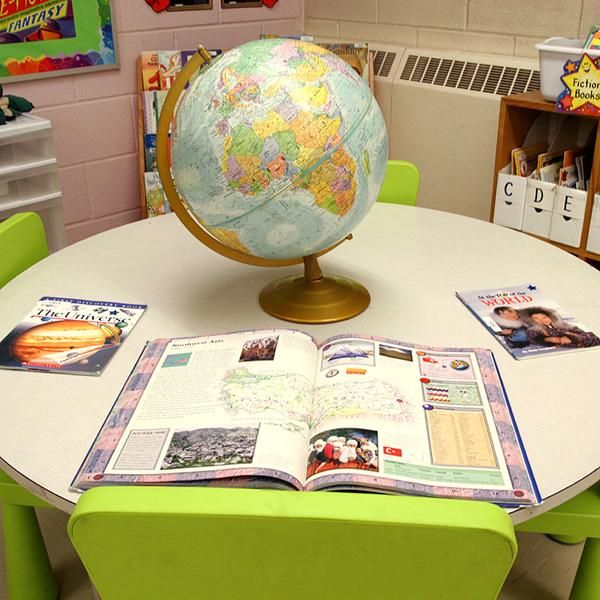 I like that this centre is an engaging way to encourage students to read and learn about text structures. They can make connections between what they are reading and the materials/props that the teacher chooses to display (in this case a globe). Moreover, keeping diversity in mind, children co-choosing the books with their teacher and having a say regarding the materials being displayed would add to their engagement with this centre.