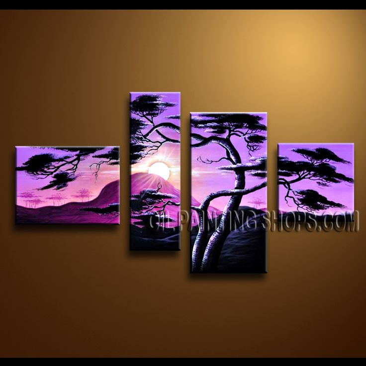 Primitive Contemporary Wall Art Oil Painting On Canvas Panels Gallery Stretched Landscape. This 4 panels canvas wall art is hand painted by Anmi.Z, instock - $138. To see more, visit OilPaintingShops.com