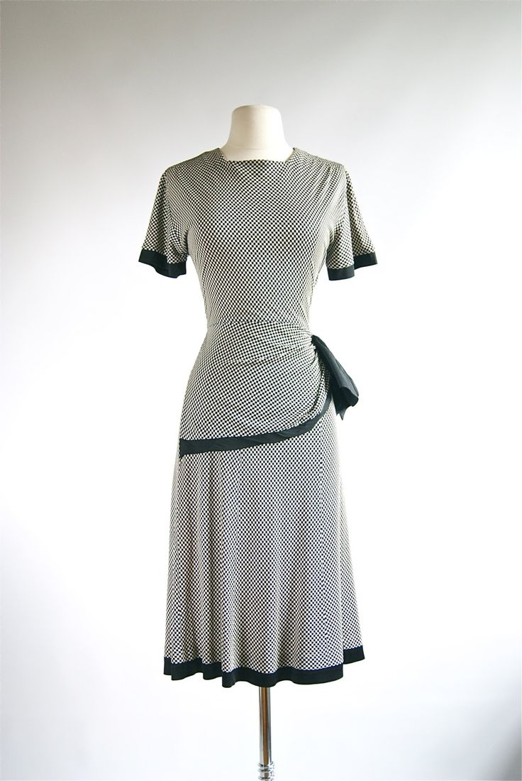 1940s Rayon Dress With Hip Swag and Checkerboard by xtabayvintage