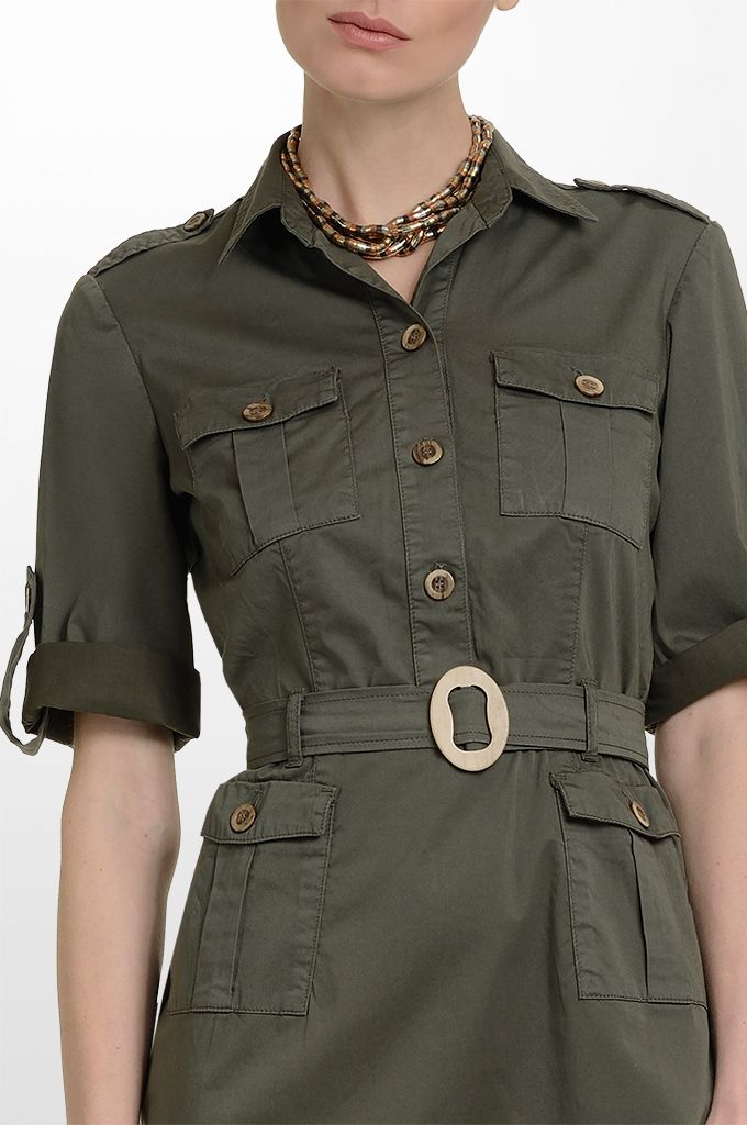 Sarah Lawrence - short sleeve belted dress, necklace.