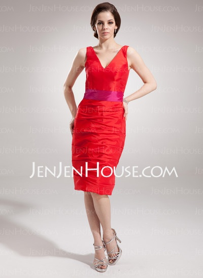 Bridesmaid Dresses - $94.99 - Sheath V-neck Short/Mini Taffeta Bridesmaid Dress With Ruffle Sash (007004282) http://jenjenhouse.com/Sheath-V-Neck-Short-Mini-Taffeta-Bridesmaid-Dress-With-Ruffle-Sash-007004282-g4282