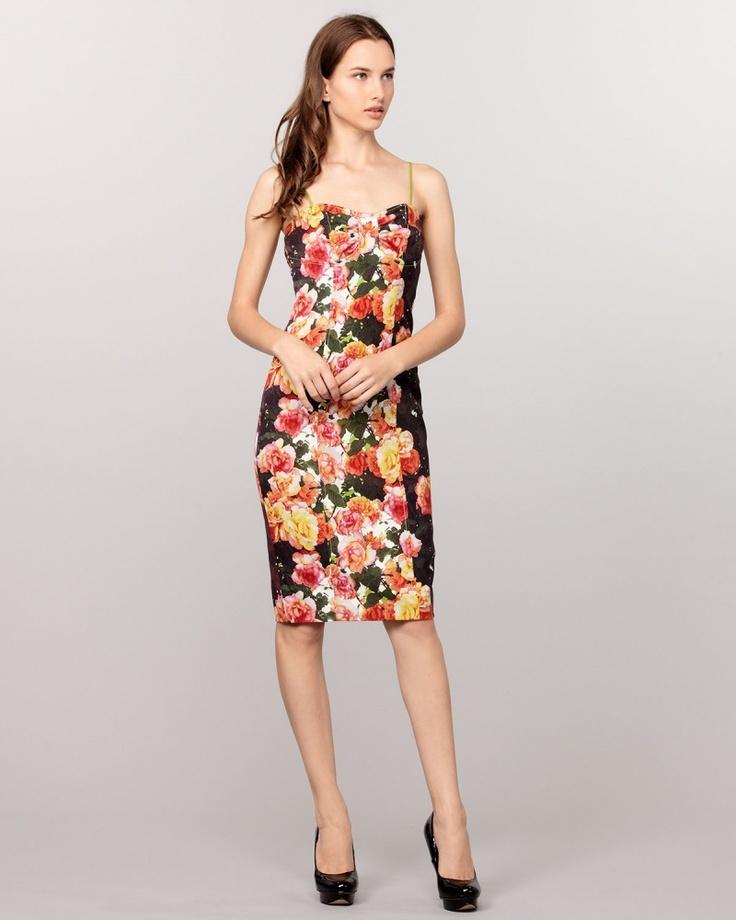 TRACY REESE ブラック×ピンク ベアトップローズプリントドレス