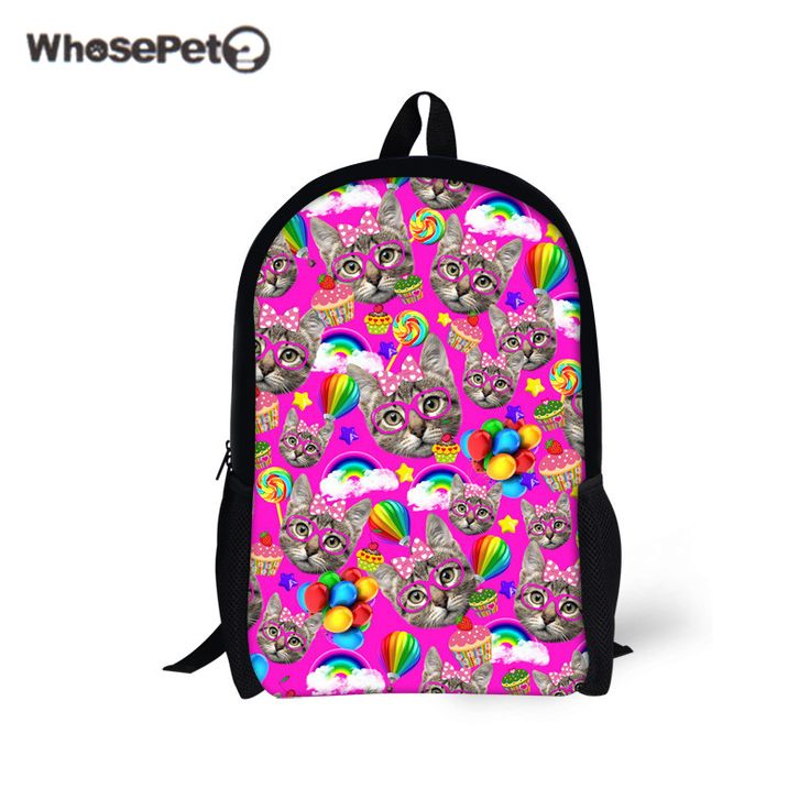 WHOSEPET Multi-color Cats Printing School Rucksack Teenagers Book Bags Kawaii Backpacks Women's Girl's Canvas Travel Bag Satchel