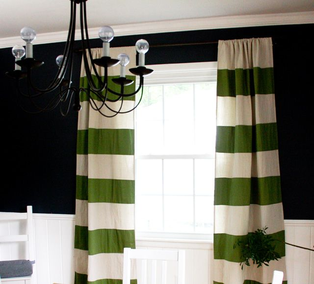 Green Wide Stripe Drop Cloth Dining Room Curtains Home