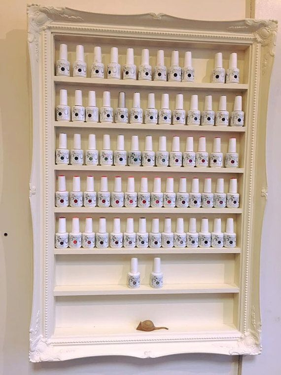 Nail Polish Rack Display Cabinet French Shabby Chic Classic Vintage Cream  ..for OPI Shellac Gelish