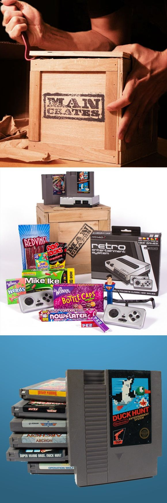 Man crate full of retro games and junk food. Actually really cool. I'd love this. -D