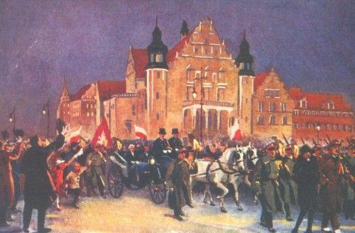 Powstanie Wielkopolskie - Przyjazd Ignacego Paderewskiego w towarzystwie oficerów angielskich w czwartek 26 grudnia 1918r. Malował Leon Prauziński.