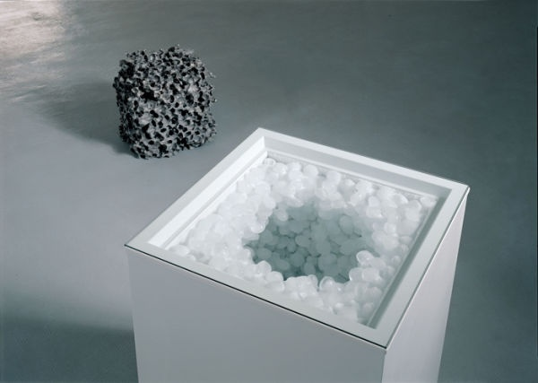 Gianni Caravaggio, My Brain and Thought, 2004, Freezer, ice, glass, aluminium, Variable dimensions