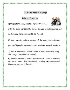 outsiders slang and idioms 1960 39 s lingo worksheets the o 39 jays the outsiders and worksheets. Black Bedroom Furniture Sets. Home Design Ideas