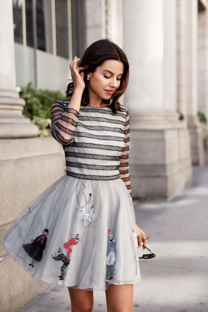 VivaLuxury - Fashion Blog by Annabelle Fleur: VIVALUXURY FOR REDValentino - REDValentino Circus embroidered tulle dress, Circus embroidered boyfriend sweatshirt & glitter and flock printed tulle skirt September 16, 2015