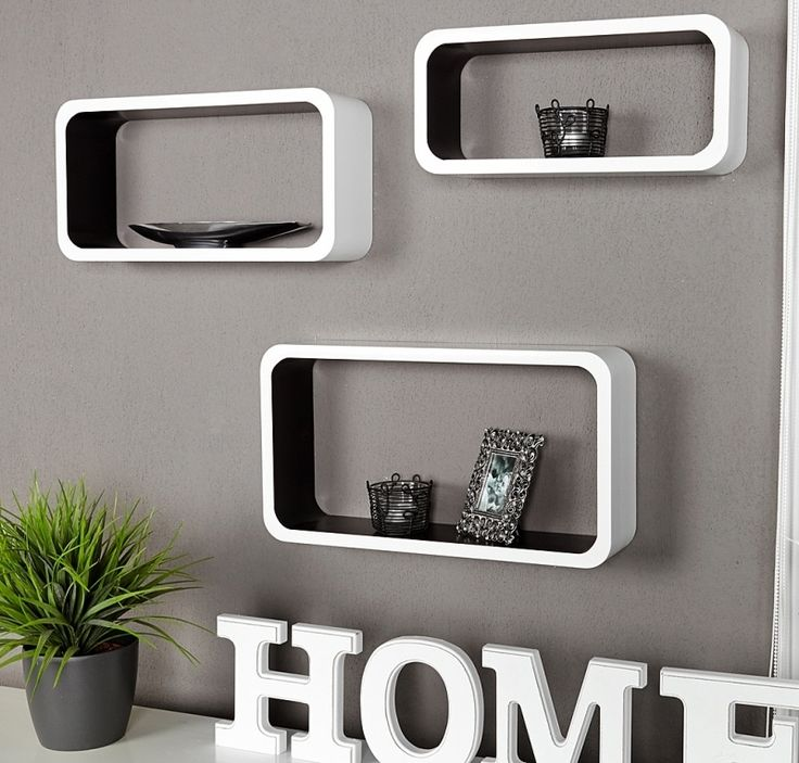Retro lounge wandplank - wit-zwart - medium