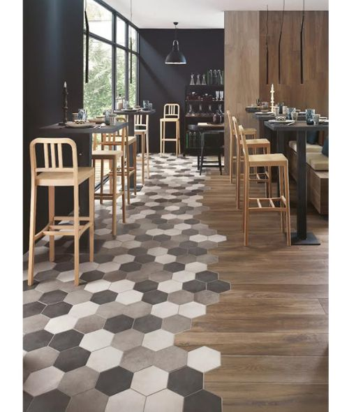 Hardwood flooring combined with grey ceramic hexagon shaped tile. Beautiful  and fun flooring combination. - 100 Best Tile Images On Pinterest Hexagon Tiles, Bathroom Ideas