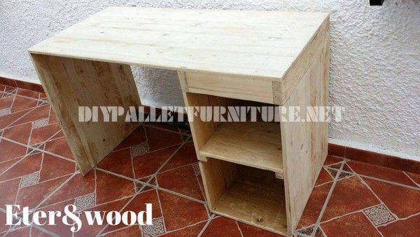 Classic and simple desktop table with pallets 2