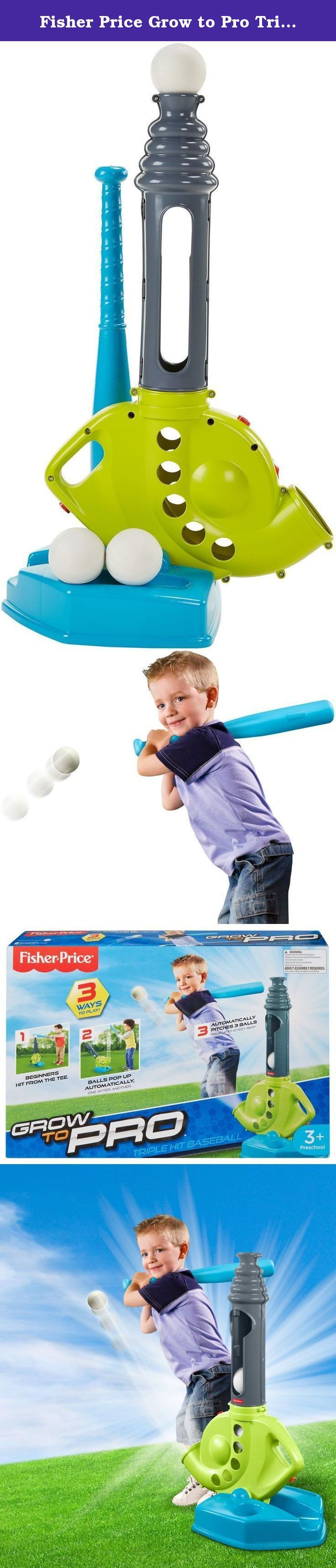 """Fisher Price Grow to Pro Triple Hit Baseball. This baseball set is a triple threat for helping kids learn how to swing like a pro! Beginners hit from the tee. When they're ready for a little more of a challenge, a simple adjustment converts this battery-powered trainer to pop-up pitch. Balls automatically pop-up from the base, one after another, which is perfect for rookies! For """"pros,"""" the trainer automatically pitches three balls from up to 10 feet away! Learning to swing with Grow to…"""