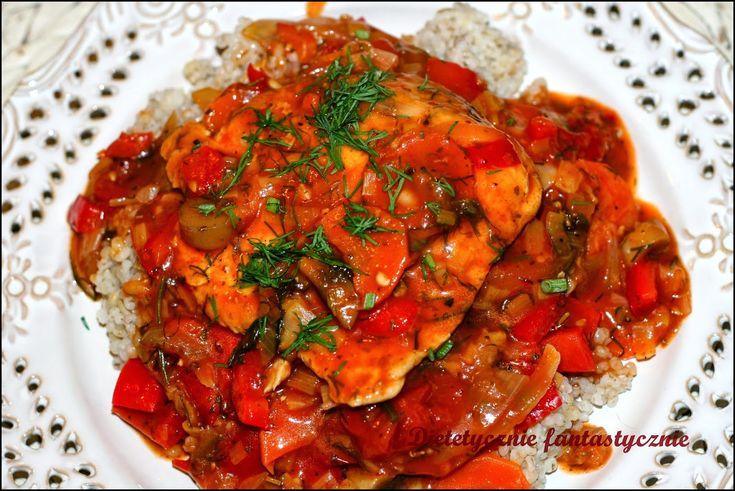 dietetycznie fantastycznie: Schab duszony z warzywami z kaszą jęczmienną
