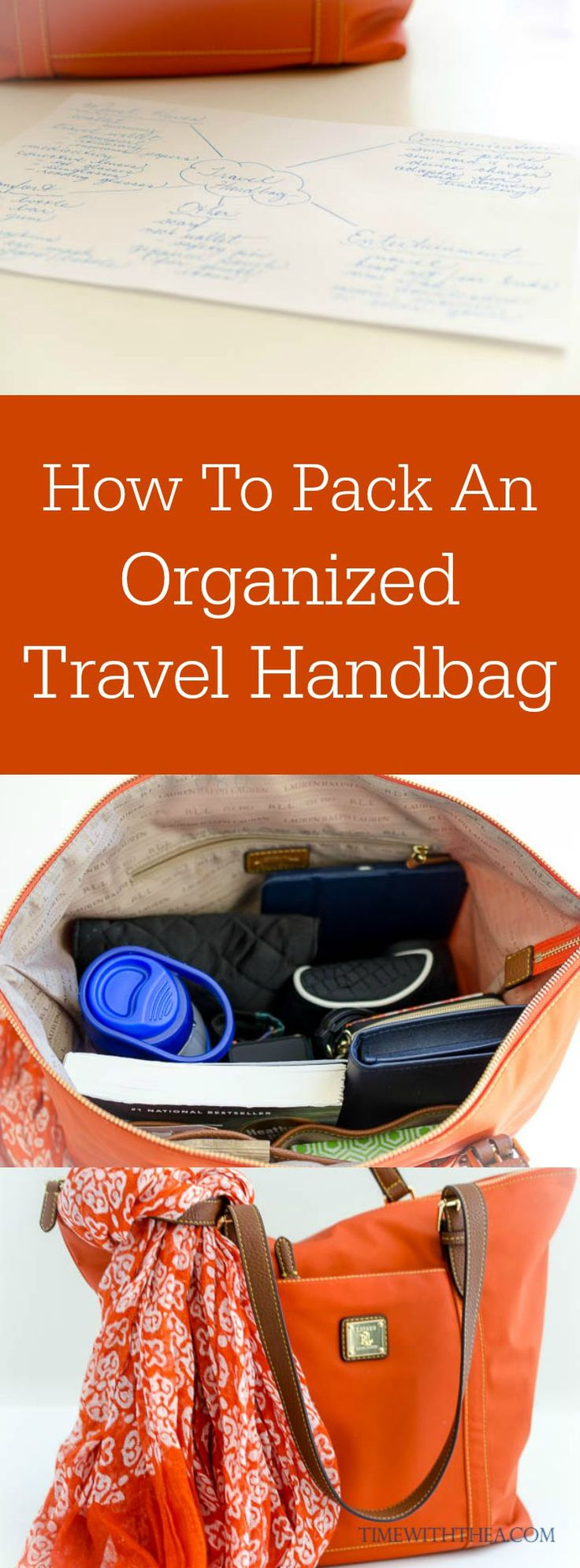 How To Pack An Organized Travel Handbag ~ Tips for how to decide what items to include and how to pack your handbag so it is very organized for traveling! #AlamoDriveHappy #ad