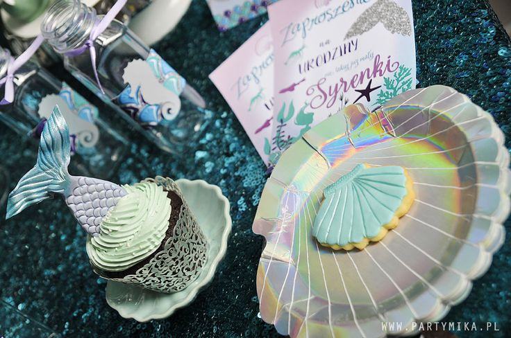 Urodziny Małej Syrenki Mermaid Party, Mermaid cupcakes Shells plates, talerzyki muszle w naszym sklepie!