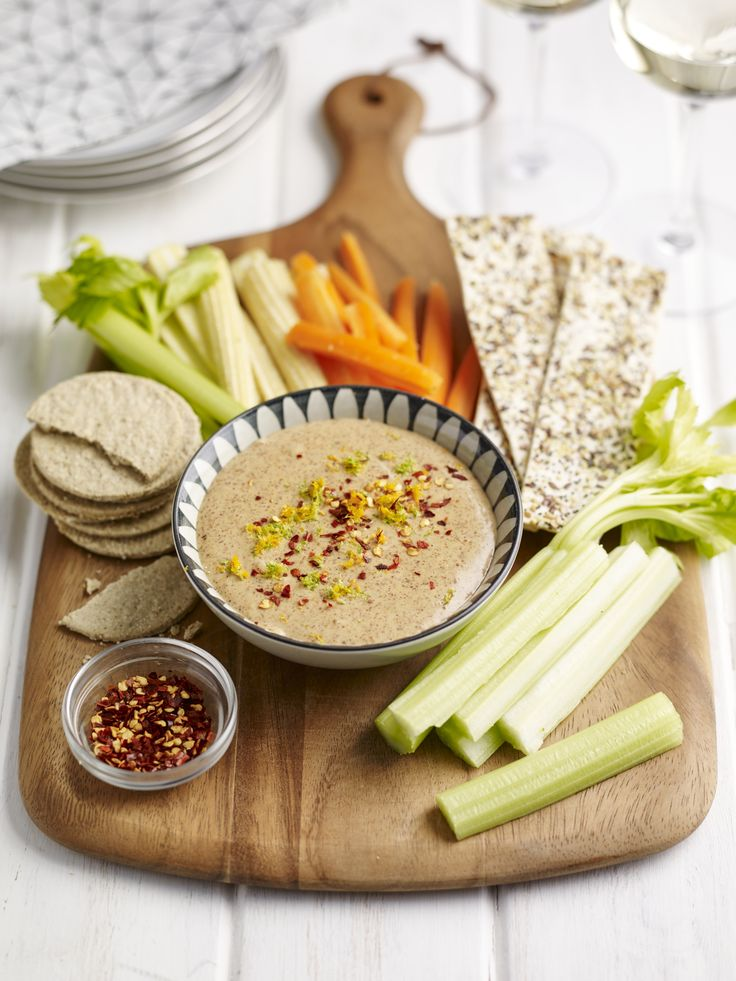 Almond Satay Dip With Flat Breads & Veg  http://www.meridianfoods.co.uk/Recipes/Almond-Satay-Dip-with-Flat-Breads-and-Veg