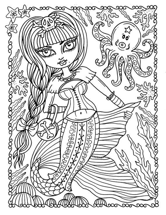 5 Pages Gothic Mermaids Digital Coloring Pages Set Of 5 Digi Stamps Digital Coloring Book Gothic Mermaids Cardmaking Crafts In 2020 Mermaid Coloring Book Barbie Coloring Pages Coloring Books
