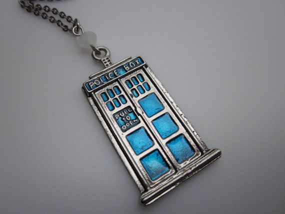 TARDIS Necklace Doctor Who Blue Police Call Box by lovespelljewels, $9.99