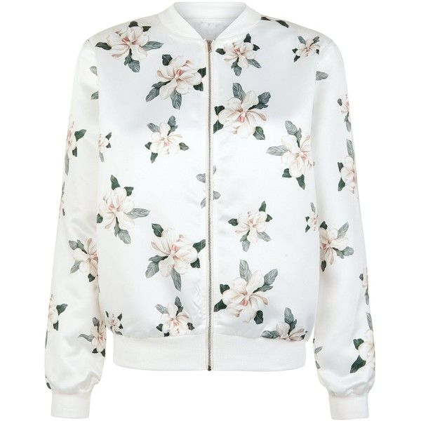 New Look Cameo Rose White Lily Print Bomber Jacket ($18) ❤ liked on Polyvore featuring outerwear, jackets, white pattern, bomber style jacket, print jacket, patterned bomber jacket, bomber jacket and flight jacket