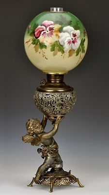 highvictoriana:    Victorian cast metal parlor oil lamp with cherub base, made by Juno Lamp Co.