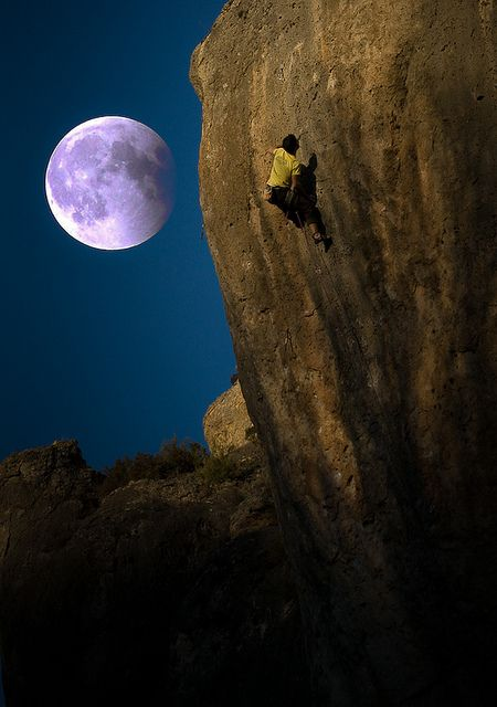 Climbing in the light of the #moon...when daytime insanity isn't enough of a rush!