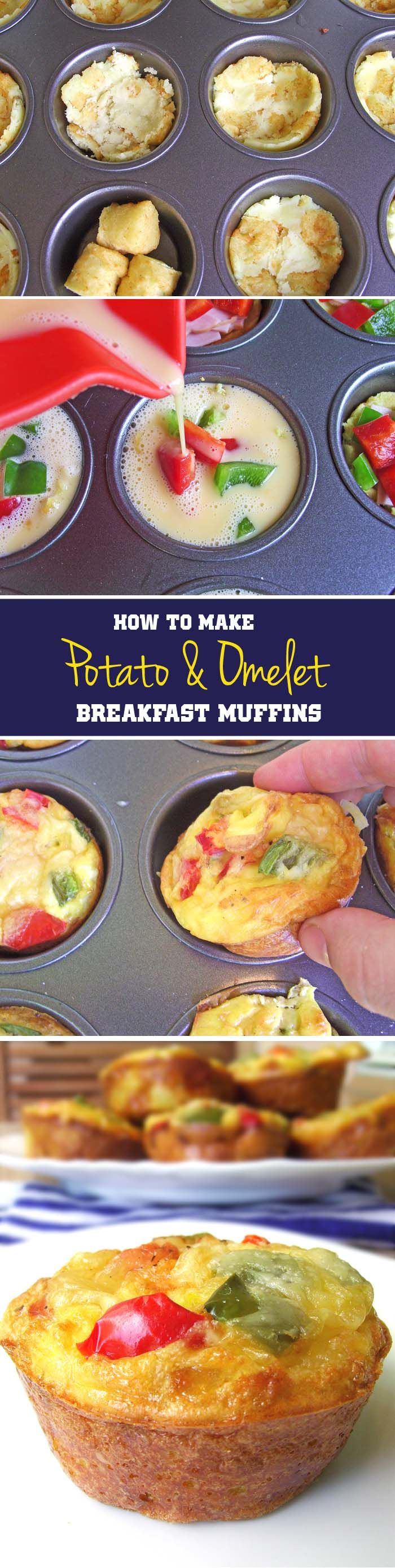 Potato & Omelet Breakfast Muffins - very delicious, without meat each muffin is less than 100 calories, and it's hard to stop with just one. Especially as I was making these the night ahead to store. Would be excellent with any breakfast meat, kielbasa, or even chicken. I actually think these make a lovely night time snack. Mine need to be reheated in the microwave 55 seconds from frozen.