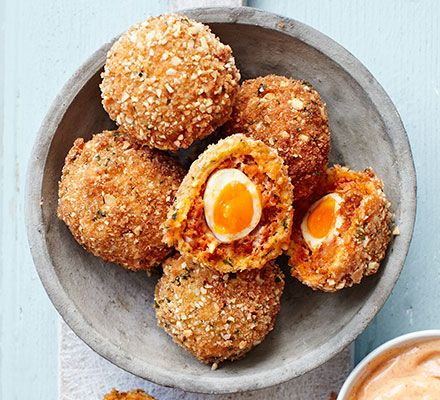 Upgrade this picnic family favourite with a tangy chorizo and blanched almond shell, covering perfectly soft-set yolks