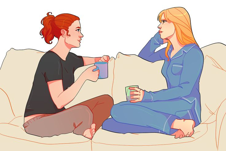 [Image: Natasha Romanoff and Pepper Potts sitting on a sofa, hanging out and chatting; they're both wearing lounge clothes and holding mugs.]