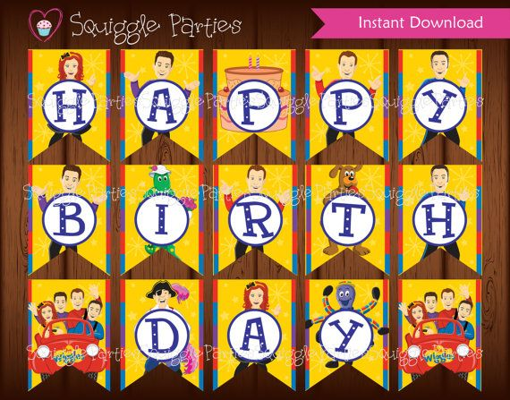 The Wiggles The Wiggles Birthday Banner for by SquiggleParties