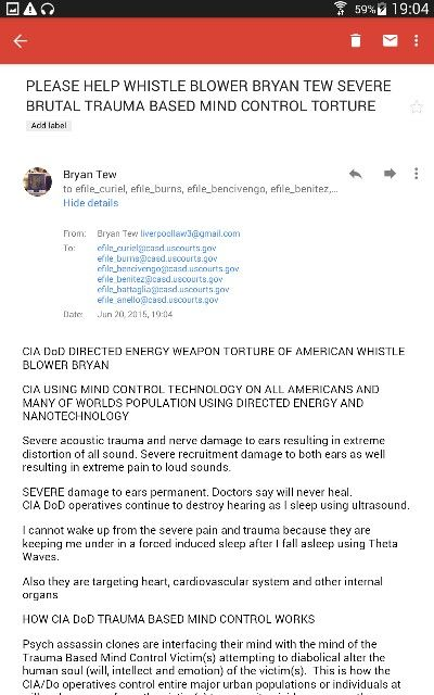 WHISTLE BLOWRR BRYAN TEW PLEADS FOR HELP FROM FEDERAL JUDGES IN USA