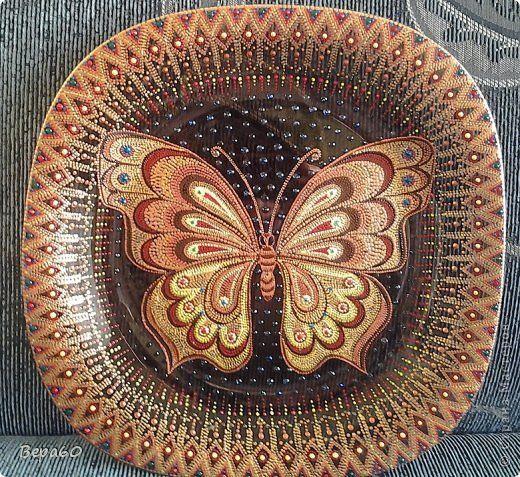 Декор предметов Картина панно рисунок Рисование и живопись Роспись Бабочка в точечку Краска Стекло фото 1