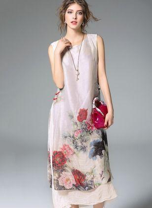 Linen Floral Sleeveless Mid-Calf Vintage Dresses (1026946) @ floryday.com