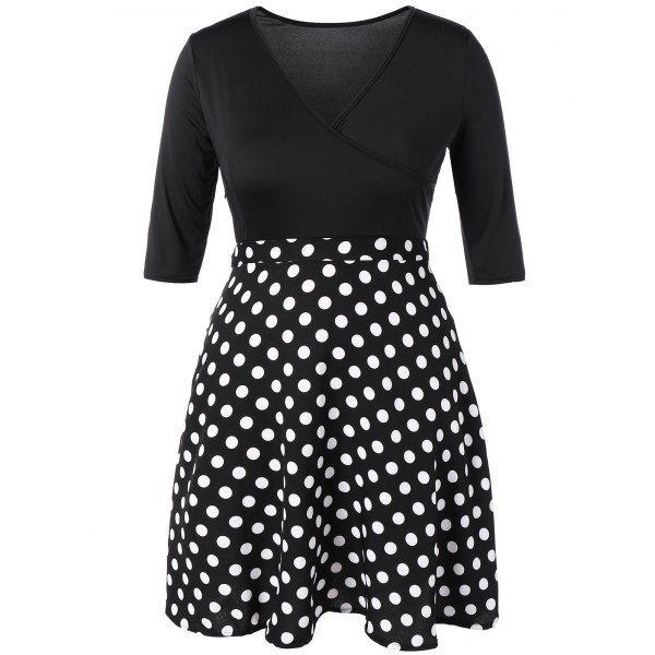 Plus Size Vintage Polka Dot Insert Dress | TwinkleDeals.com
