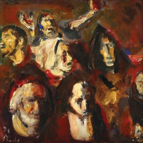 Self Portrait with characters А, Corneliu Baba. Romanian (1906 - 1997)